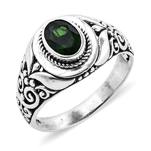 (Solitaire Ring 925 Sterling Silver Oval Chrome Diopside Jewelry for Women Size 10 Ct)