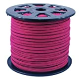 BeadsTreasure Cerise Suede Cord Lace Leather Cord For Jewelry Making 3x1.5 mm-20 Feet.