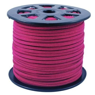 Cerise Jewelry - BeadsTreasure Cerise Suede Cord Lace Leather Cord For Jewelry Making 3x1.5 mm-20 Feet.