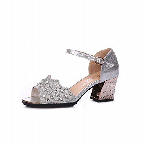 de el de de en Tobillo Verano Plata Hebilla BYLE Modern Jazz perforación 37 señoras Samba Baile Sandalias Zapatos de Agua Sandalias de Cuero 7xZXwq