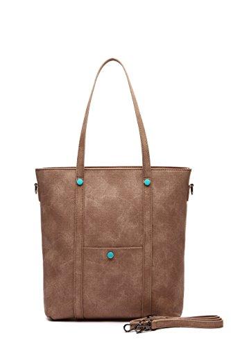 bolsos beige Bolsos mujer shopper bolso MAMBO naranja grande marrón y mujer Camel Marron hombro tote bolso Bolsos 5n1rq81w