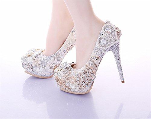 Heel Shoes LL132 14cm Stunning Evening Bridal Women's Pumps Silver Bridesmaid Miyoopark Wedding qPd8wqv