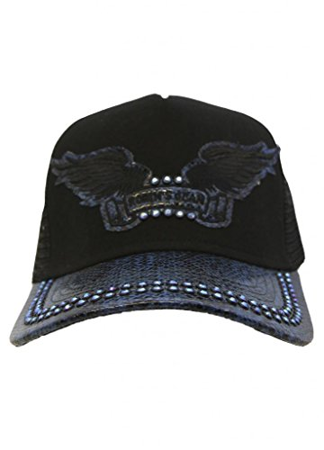 "Cap Twill ""Snake"" Black And Blue With Crystals"