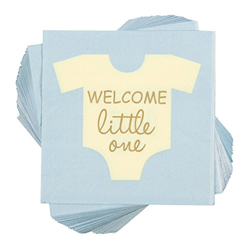 100-Pack Cocktail Napkins - Welcome Little One Disposable Paper Party Napkins - Perfect for Boys Baby Shower or Gender Reveal Parties - 5 x 5 Inches Folded (Baby Shower Themes Boy)