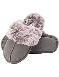 Girls Comfy Slippers - Cute Faux Fur Slip-on Shoes Memory Foam House Slipper