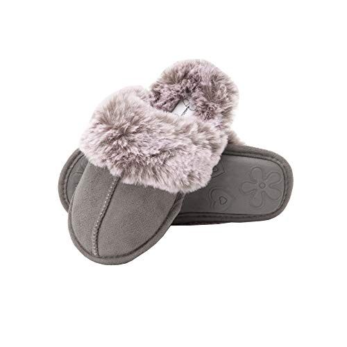 Jessica Simpson Girls Comfy Slippers - Cute Faux Fur Slip-On Shoes Memory Foam House Slipper (Grey, Size Large) (Slippers For Little Girls)