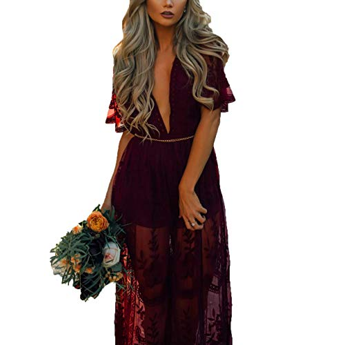 Eleter Women's Deep V-Neck Lace Romper Short Sleeve Long Dress (L,Wine Red) ()