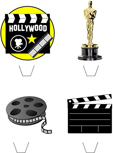Novelty Hollywood Movie Mix 12 Edible Stand up wafer paper cake toppers (5 - 10 BUSINESS DAYS DELIVERY FROM UK)