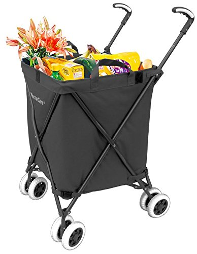 Folding Shopping Cart - VersaCart Transit Utility Cart - Transport Up to 120 Pounds (Water-Resistant Heavy Duty Canvas), Black