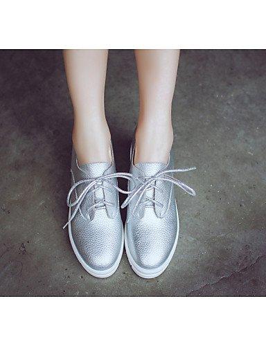NJX/ hug Damenschuhe-Ballerinas-Lässig-Kunstleder-Flacher Absatz-Rundeschuh-Schwarz / Weiß / Silber white-us5 / eu35 / uk3 / cn34