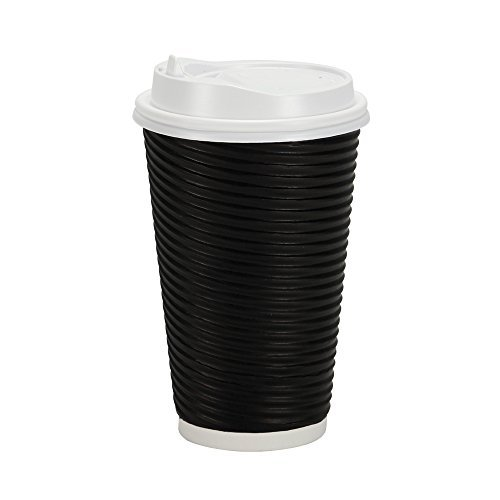 PREMIUM Disposable Hot Paper Cups With Lids  Double Wall & Ripple Insulation For Heat Protection  Perfect For Your Coffee/Tea/Espresso  Birthday/Party/Restaurant Supplies 30 Count (16 oz., Black)