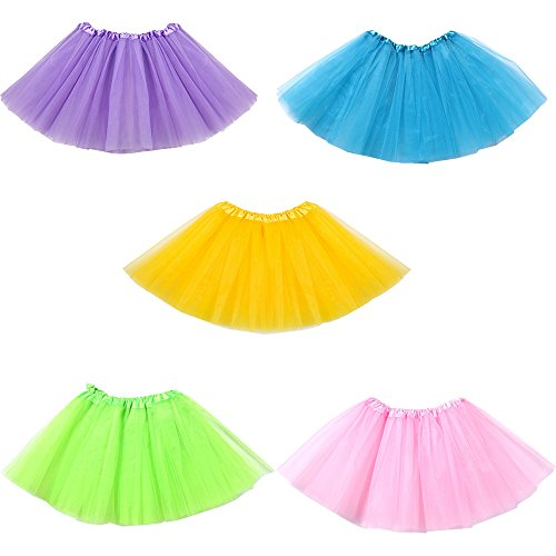 Mydio 5 Pack Ballet Tutus,Girls Tutu Skirt Party Tutus,Green/Pink/Blue/Purple/Yellow by Mydio