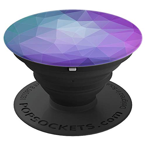 Purple Pop - Purple Teal Polygon Geometric Print Phone Accessory - PopSockets Grip and Stand for Phones and Tablets