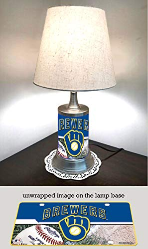 (JS Brewers Table Lamp with Shade, Your Favorite Team Plate Rolled in on The lamp Base, Milwaukee B )