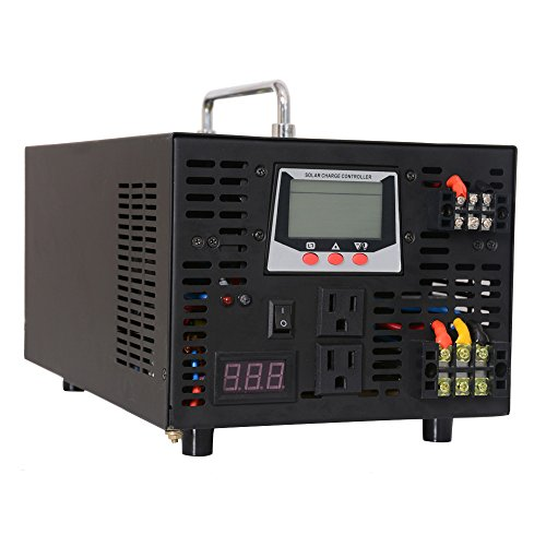 WZRELB 3000W 12V 120V DC to AC Off Grid All in One Pure Sine Wave Hybrid Inverter 30A Solar Charge Controller PV Photovoltaic Home Solar System