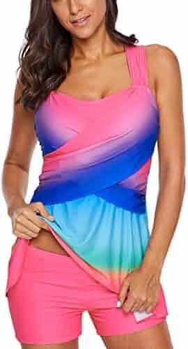 93e3eab7da1 Donnalla Womens Color Block Tankini Swimsuits Rainbow Swimwear Two Piece  Swimdress with Shorts