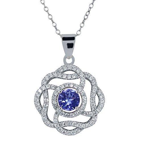 2.52 Ct Round Blue Tanzanite 925 Sterling Silver Pendant -18 Inch Chain
