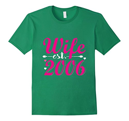 Mens Top Wife since 2006 T shirt. Anniversary Gifts for Her XL Kelly Green