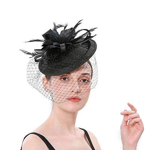 Forbeautiful Women's 1920s 50s Veil Flower Kentucky Derby Hats Fascinator Feather Mesh Net Headpiece Tea Party Headwear ()