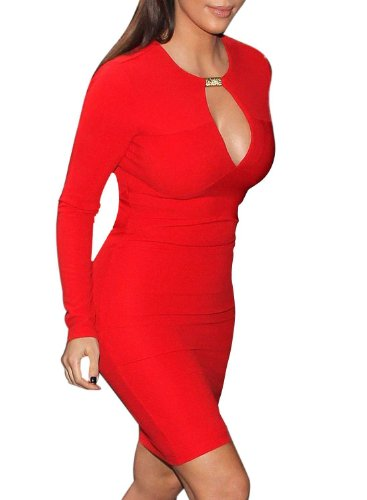 OFTEN Women Lady Keyhole with Metal Buckle Bodycon Pencil Party Dress,Red,Small (Buckle Pencil Skirt)