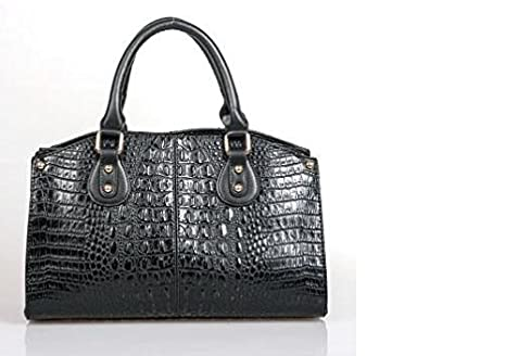 edc3c8dd654b Amazon.com : ESBAG Black Faux Leather Croc & Snakeskin Purse Handbag ...