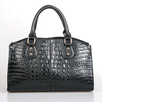 (ESBAG Black Faux Leather Croc & Snakeskin Purse Handbag)