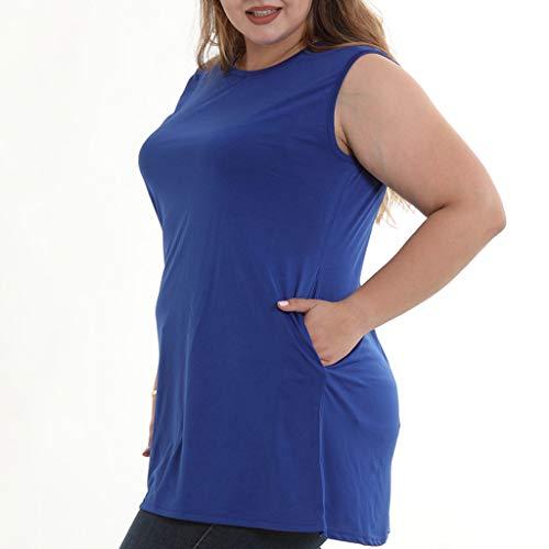 Mangas Camisetas Slyar Grandes Tallas Tirantes Gran Manga 2019 Sin Para Sólido Verano De Camiseta Tamaño Azul Mujer Color Nuevo Corta rrxdvq