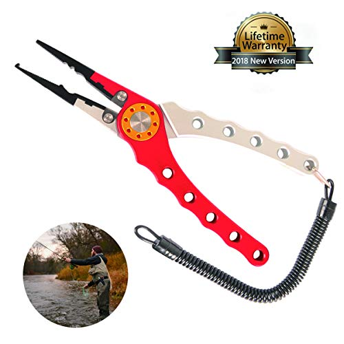 Aluminum Fishing Plier, Fishing Scissors with Lanyard and Sheath, Needle Nose Pliers Braid Cutter Hook Remover Split Ring Pliers Crimper Fish Gripper for Saltwater Freshwater Fishing