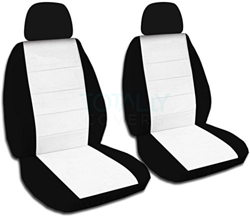 Two-Tone Car Seat Covers w 2 Separate Headrest Covers: Black & White - Semi-Custom Fit - Front - Will Make Fit Any Car/Truck/Van/SUV (21 Colors) ()