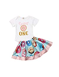 2pcs Baby Girl Clothes Newborn Romper Bodysuit+ Doughnuts Skirts Outfits Set