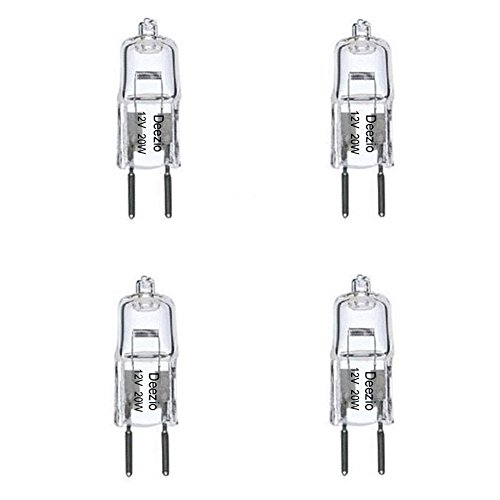 Deezio 12 Volt 20 Watts GY6.35 T4 Halogen Light Bulb with Glass 2-Pin, 300 Lumens, 3000K Bulb Color Temp, 4-Pack ()