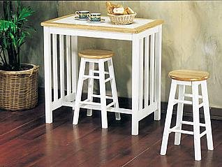 ACME 02140NW Metro Pack Breakfast Set Mission Style Tile Top, 3-Piece, Natural/White Finish