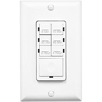 Enerlites HET06-W Countdown Timer Switch, Fan Switch Timer, Timer Switch for Lights, Bathroom Timer Switch, Wall Switch Timer , 5 min–4 hrs