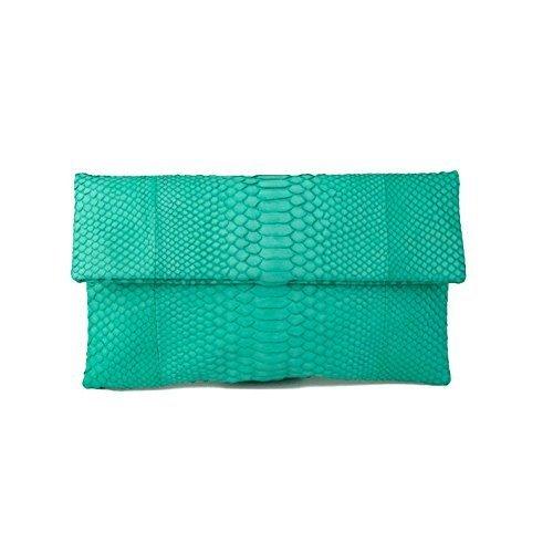 Aqua Mint Foldover Genuine Python Snakeskin Leather Bridal Bridesmaids Christmas - Michael Bag Aqua Kors