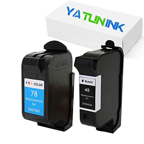 YATUNINK 2 Pack Remanufactured for HP 45 78 Ink Cartridge 51645A C6578DN (1 Black 1 Color) for Deskjet 6127 Deskjet 960 Deskjet 995 Series Printer