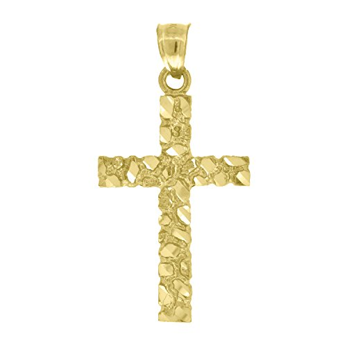 (FB Jewels 10k Yellow Gold Nugget Mens Cross (Ht:33mm x W:17mm) Religious Charm Pendant)