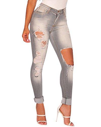 Como Skinny Pantalones Desgarrados Mujer Vaqueros Imagen La para Jeans Elásticos Slim EqgE18