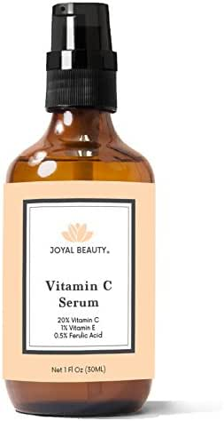 Vitamin C Serum with Hyaluronic Acid for Face and Skin by Joyal Beauty. Premium Organic 20% Vitamin CE Ferulic Witch Hazel Combination Antioxidants Professional Formula for Healthy Glowing Skin. 1 OZ