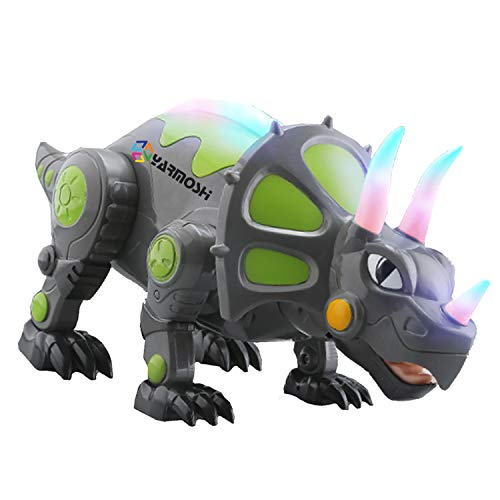 YARMOSHI Walking Triceratops Dinosaur Robot Toy - Battery Operated. Colorful Glowing Lights. Moving Limbs, Music Playing. Jurassic Fun Gift for Boys and Girls, 5.5x5.8x14.1 Inches, Age 2+