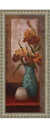 (Poster Palooza Framed Spiced Jewels II - Mini- 8x20 Inches - Art Print (Ornate Silver Frame))