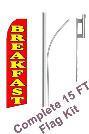 "NEOPlex - ""Breakfast Red w/Yellow (Extra Wide)"" Complete Flag Kit - Includes 12' Swooper Feather Business Flag With 15-foot Anodized Aluminum Flagpole AND Ground Spike"