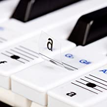 New - Keysies Transparent Plastic Removable Piano and Keyboard Note Stickers - Plus Handy Placement Guide.