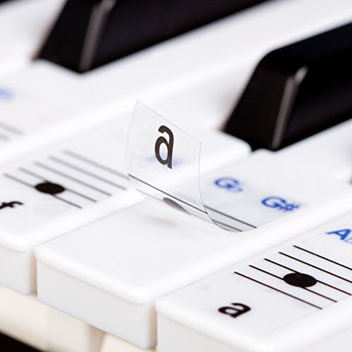 Price comparison product image Keysies Transparent Plastic Removable Piano and Keyboard Note Stickers - Plus Handy Placement Guide.