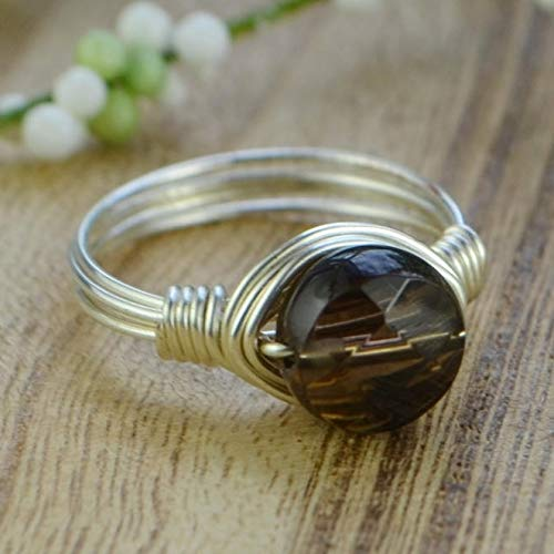 Faceted Round Smoky Quartz Small Gemstone Bead and Sterling Silver or Gold Filled Wire Wrapped Ring- Made to size 4-14 ()