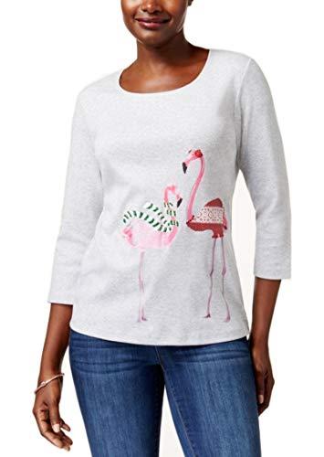 Karen Scott Petite Cotton Holiday Flamingo Graphic Top -