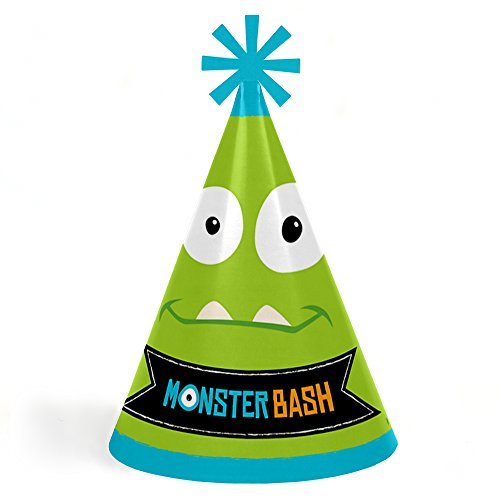 Monster Bash - Cone Little Monster Happy Birthday Party Hats for Kids and Adults - Set of 8 (Standard Size) by Big Dot of Happiness
