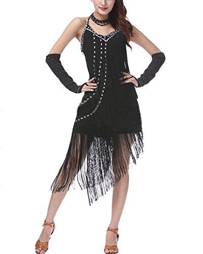 Traje Salón Latino Borla Baile Negro Mujer Traje Lentejuelas Vestido Sin Baile De De Mangas PengGengA Vestido qSaPn