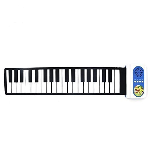 Vsport Roll Up Piano Keyboard, 37 Keys Digital Foldable Piano – 8 Selectable Tones + 6 Demo Songs | Teaching Function | Built-in Speaker | Musical Instruments Toy with Carry Bag | (Blue) ""