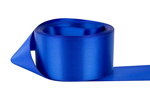 Ribbon Bazaar Double Faced Satin 1-1/2 inch Royal Blue 50 yards 100% Polyester ()