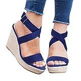 Womens Wedge Platform Espadrille Strappy Sandals Cross Ankle Strap Slingback Open Toe High Heel Summer Sandals Blue